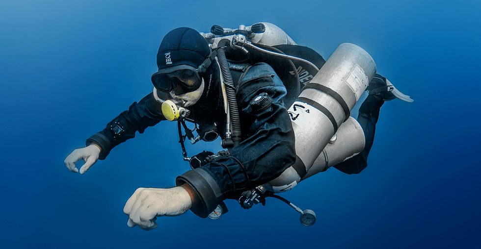 Technical diver with stages