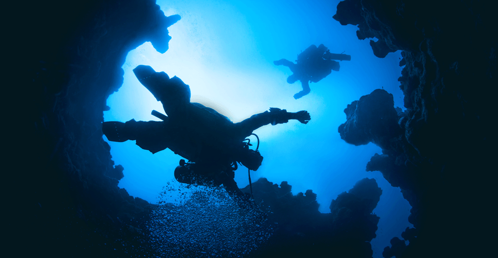 Diver silhouette Canyon Dahab